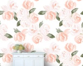 Removable Wallpaper - Floral Watercolor Design, Repositionable, Removable, Woven Wallpaper, Pink, Peach, Salmon, Coral, Olive Green Blooms