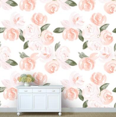 removable wallpaper floral watercolor design