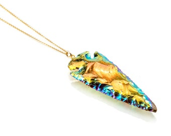 Titanium Arrowhead Necklace with gold filled chain
