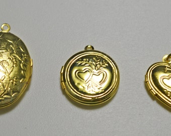 Lockets, gold plated, 3 styles - #2092