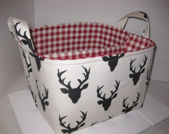 Large Diaper Caddy 10 x 10 x 7 / Organizer Bin / Black Deer Heads Red Gingham - Personalization Available