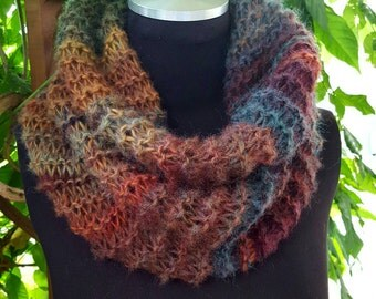 Hand Knit Infinity Cowl Scarf in Earth Tones