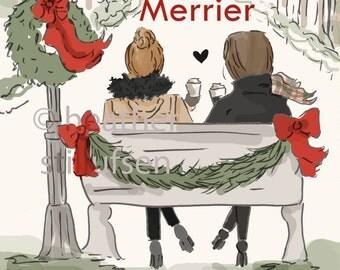 Friendship Makes Life Merrier - Holiday - Art for Women - Quotes for Women  - Art for Women - Inspirational Art