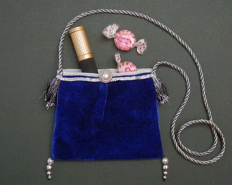 "5"" x 4"" Mini Neck Purse Royal Blue Velvet Party Makeup Dress Up Petite Cosmetics Dainty Bag Dance Essentials Small Fabric Accent Gift Idea"