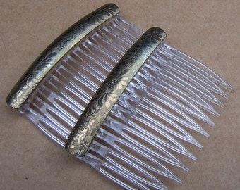 Vintage hair combs mid century matched pair celluloid hair accessory hair jewelry hair clip hair slide