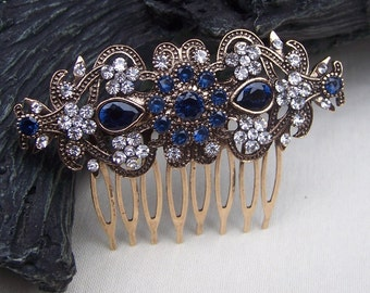 Vintage hair comb Hollywood Regency rhinestone hair accessory hair pin hair barrette hair clip hair slide hair jewelry headdress (AG)