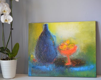 dining room makeover blue and yellow oil on canvas 20x16 Still Life with Bottle kitchen art