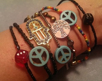Colorful Beaded Bracelets peace signs, pandas, black cat, pink deer, Hello Kitty, plastic charms load up your arms!