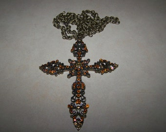 Huge Chunky Ornate Rhinestone Cross Necklace