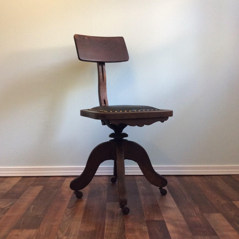 industrial vintage antique swivel chair oak wood iron