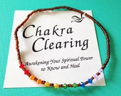 Seven Chakras Clearing 10 inch Stretch Anklet
