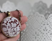 Burgundy Necklace, Lace Jewelry, Victorian Jewelry, Unique Necklace for Women, Bridesmaid Gift, Mom, Wife, Burgundy Wedding, Red Pendant