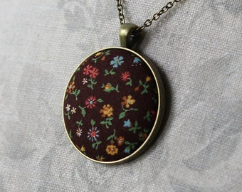 Flower Pendant, Hippie Necklace, Vintage Floral Fabric Jewelry, Cute Retro Necklace, Mustard Yellow and Brown, Red, Green, Unique Gift