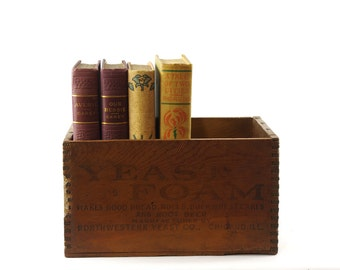 Vintage Wood Box, Advertising Box, Antique Shipping Box, Yeast Foam Box