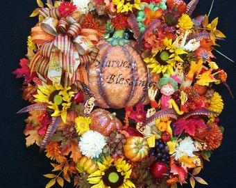 Lg. Fall Autumn Thanksgiving Pumpkin Annalee Scarecrow Wreath