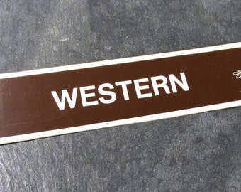 VINTAGE Book Store Sign WESTERN Plastic Book Section Sign One (1) Western Sign Auction Find Book Lovers Collage Altered Art (Y145)