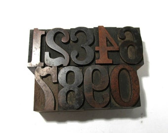 "Vintage Wooden Letterpress Type Blocks YOUR CHOICE 1   5/16"" Wood Letterpress Type Numbers 1-0 Home Decor Assemblage Supplies (F76)"