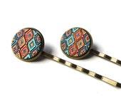 Boho Colorful Art Bobby Pins, Textured Diamond Pattern Hairpins