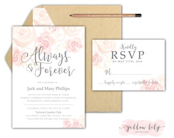 Vow Renewal Wedding Invitation- Floral / Vow Renewal / Marriage / Pastels / Simple