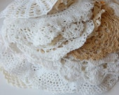 30 vintage doilies french crochet doilies