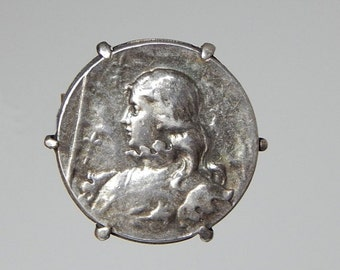 Sale 30% french Joan of Arc brooch silver coin brooch Jean d'Arc