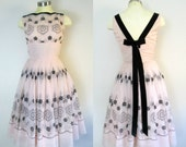RESERVED for Melissa ...1950s 1960s Pink and Black Flocked Party Dress