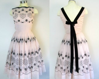 1950s 1960s Pink and Black Flocked Party Dress