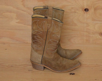 Vintage 70's Tan Suede Leather Cowgirl Boots SZ 8