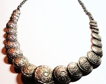 Repousse Vintage Necklace Silver Floral Patterned Boho Vintage Jewelry