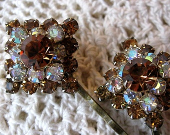 Wedding hair pins, amber rhinestone hair pins, vintage earring hair pins, vintage bobby pins, bridal hair pins, upcycled, Lily Whitepad