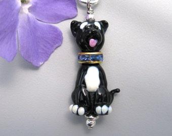 Mutt dog necklace Pendant jewelry handmade lampwork glass dog bead totem