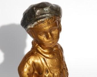 Plaster Figurine, Child figurine Gavroche Titi Parisien Bastille Days, French Antiques.
