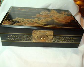 1960s Large Black Lacquered with Hand Painted Asian Village Scenes Jewelry Box.