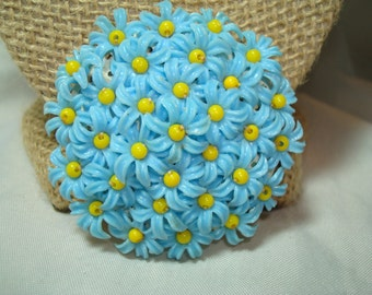 Large 1950s Made in Hong Kong Blue and Yellow Plastic Flowers Pin.