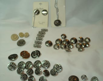 Vintage Silver Tone Military Like and Embossed Buttons.