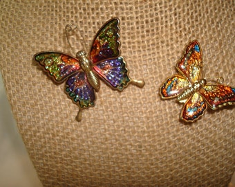 Two 1960s Glittery Large and Small Butterfly pins.