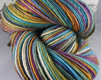 Handspun Yarn Gently Thick and Thin DK Single Blue Faced Leicester 'Cheerful Disposition'