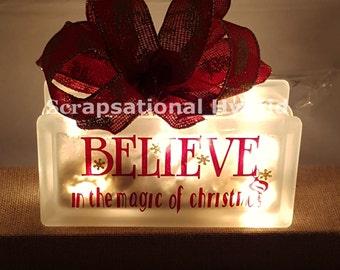 Christmas, lighted block , glass block, lights, believe, gift, home, decor, snow