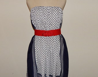 White and Blue scarf Strapless Dress or Skirt Waist up to22 up to 38 Hip up to 40 Size 12 or Size M
