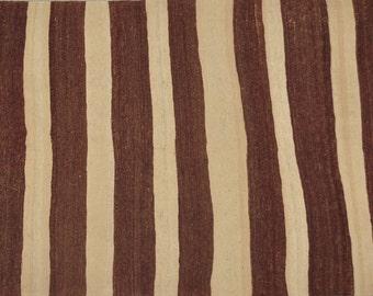 "Natural Beauty / Vintage Turkish Striped Kilim / Konya Karapinar / 4'6"" x 8'2"" /137 x 250cm"