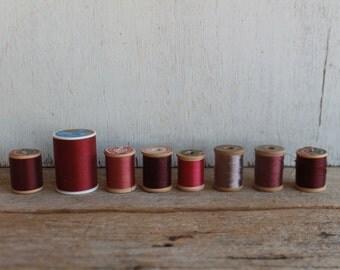 Vintage Thread Spools // Reds