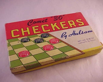 "Comet ""30"" Wood Checkers Game Pieces in Original Box"