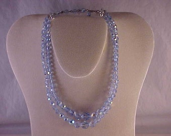 Blue Glass Bead Two Strand Necklace