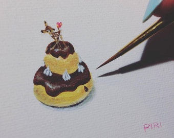 Bambi on Religieuse with <3 - Original Painting. Day 138. Art by Lilly Piri. Fawn. Deer. Choux Pastry. Eclair.