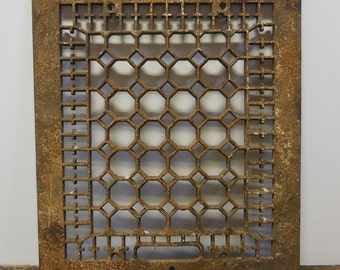 Antique Cast iron Metal Grate Floor Wall  Architectural salvage Cathedral Gothic Decorative 12 x 14