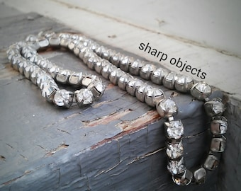 Finished - retro 1950s faux diamond, silver prong, rhinestone single strand costume choker, necklace