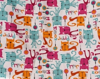 Flannel pants pajama dorm lounge made to order your choice size XS - 2X Colorful cartoon cats kitties print