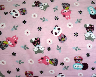 Flannel pajama lounge pants pajama dorm made to order your choice size XS - 2X Cherry blossom pink owls, pandas, rabbits,foxes  in kimonos