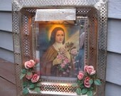 Vintage Lighted Picture of Saint Theresa (Therese)