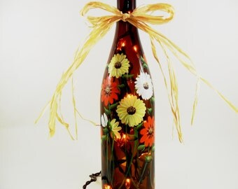 Lighted Wine Bottle Fall Daisies Orange Yellow Flowers Hand Painted Recycled 750ml